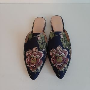 J CREW marina floral print slip on mules shoes